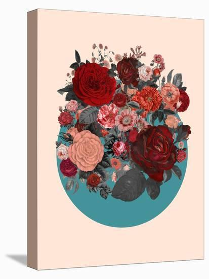 Red Floral Collage--Stretched Canvas Print