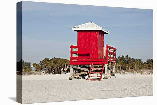 Red Lifeguard Tower sandyBeach--Stretched Canvas Print