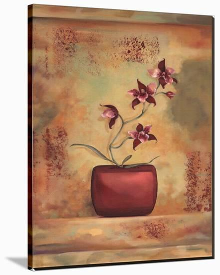 Red Orchid in Vase-Louise Montillio-Stretched Canvas Print