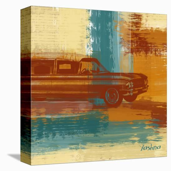Red Retro Car-Yashna-Stretched Canvas Print