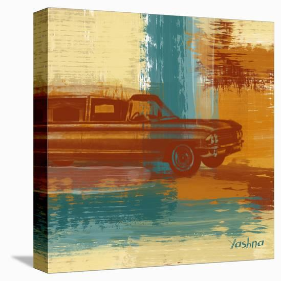 Red Retro Car-Yashna-Stretched Canvas Print