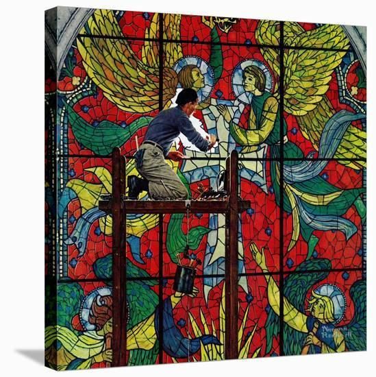 """""""Repairing Stained Glass"""", April 16,1960-Norman Rockwell-Premier Image Canvas"""