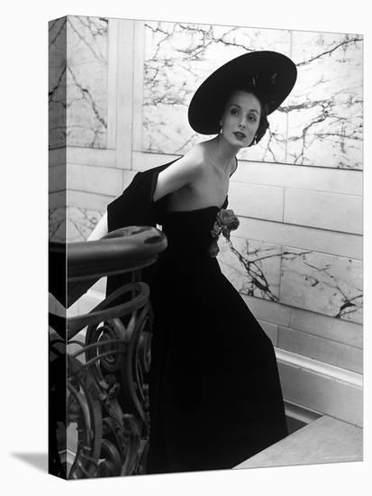 Restaurant Fashions: Cartwheel Hat, Strapless Evening Dress and Stole-Nina Leen-Stretched Canvas Print