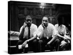 Rev. Ralph Abernathy and Rev. Martin Luther King Jr. Sitting Pensively Re Freedom Riders-Paul Schutzer-Premier Image Canvas