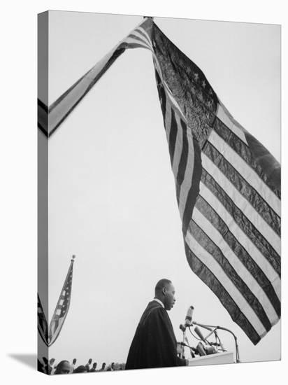 Reverend Martin Luther King Jr. Speaking at Prayer Pilgrimage for Freedom at Lincoln Memorial-Paul Schutzer-Premier Image Canvas