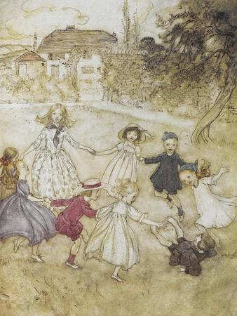 Ring-a-ring-a-roses-Arthur Rackham-Stretched Canvas Print