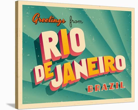 Rio De Janeiro Brazil old Card--Stretched Canvas Print