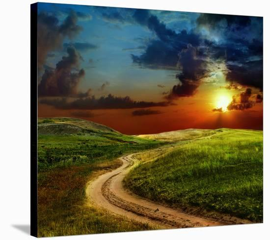 Road Field & Stormy Clouds--Stretched Canvas Print
