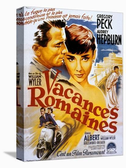 Roman Holiday, Audrey Hepburn, Gregory Peck, 1953--Stretched Canvas Print
