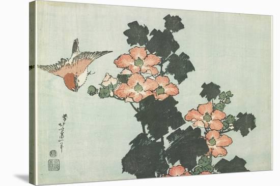 Rose Mallow and Sparrow, C. 1832-Katsushika Hokusai-Stretched Canvas Print