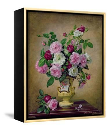 Roses and Dahlias in a Ceramic Vase-Albert Williams-Framed Canvas Print