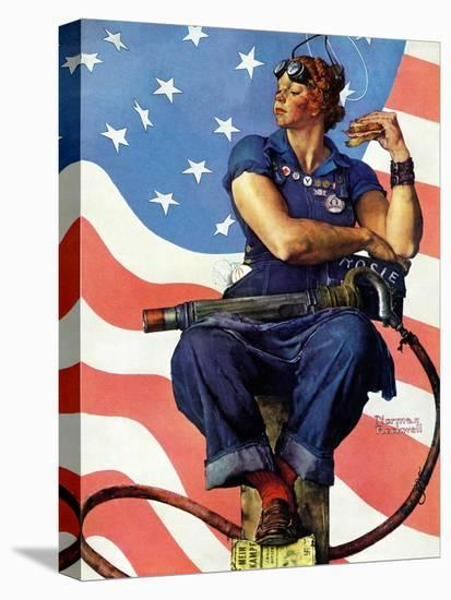 """""""Rosie the Riveter"""", May 29,1943-Norman Rockwell-Stretched Canvas Print"""