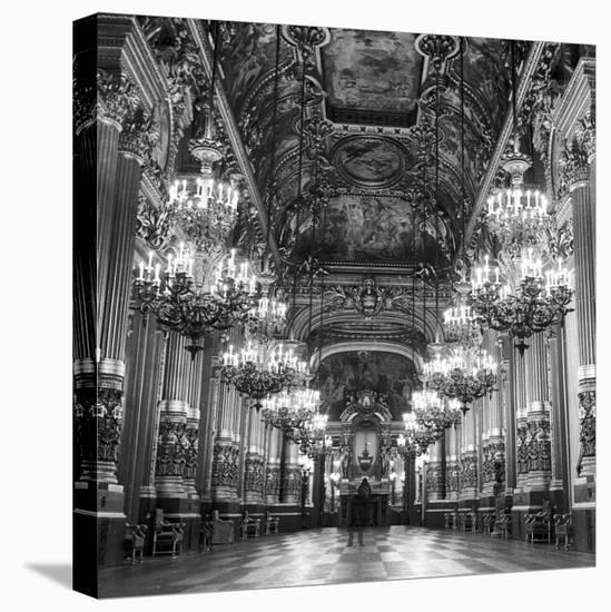 Rows of Chandeliers Hanging in the Grand Lobby of the Paris Opera House--Stretched Canvas Print