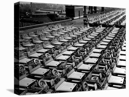Rows of Finished Jeeps Churned Out in Mass Production for War Effort as WWII Allies-Dmitri Kessel-Stretched Canvas Print