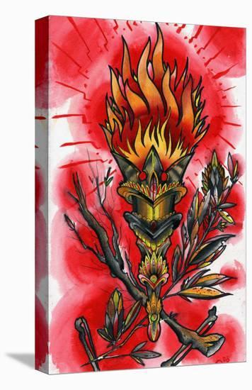 Runic Torch- Quinn-Stretched Canvas Print