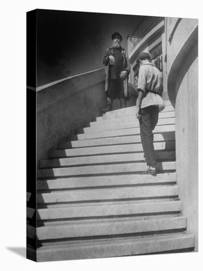 Russian Men Dressed in Tunics Standing on the Steps of a Workers Club-Margaret Bourke-White-Stretched Canvas Print