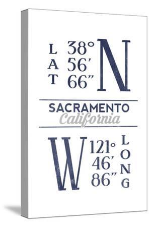 sacramento california latitude and longitude blue art print lantern press art com art com