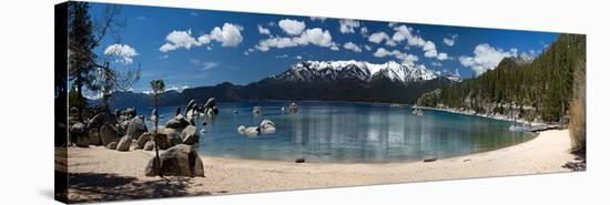 Sand Harbor Panorama Lake Tahoe--Stretched Canvas Print