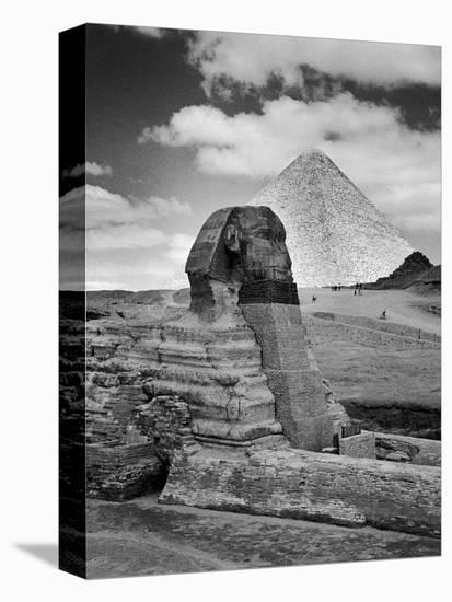 Sandbags Being Used to Protect Sphinx Against Enemy Bombs, Giza, Egypt, 1942-Bob Landry-Stretched Canvas Print
