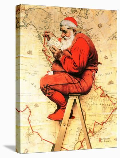 """""""Santa at the Map"""", December 16,1939-Norman Rockwell-Stretched Canvas Print"""