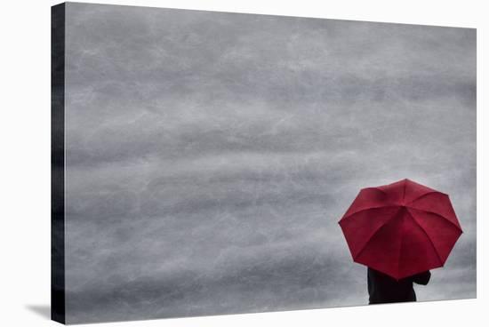 Schwartz - Little Red Umbrella-Don Schwartz-Stretched Canvas Print