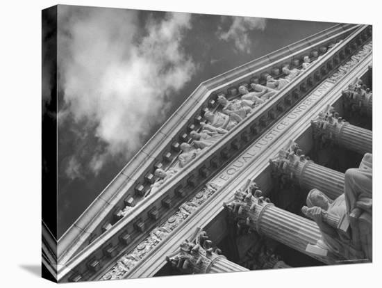 Sculptured Frieze of the US Supreme Court Building Emblazoned with Equal Justice under Law-Margaret Bourke-White-Stretched Canvas Print