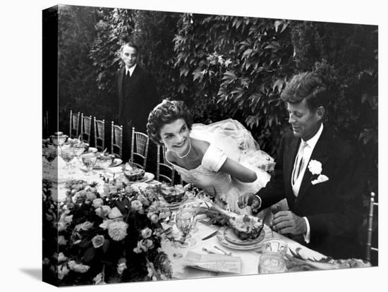 Sen. John Kennedy and His Bride Jacqueline in Their Wedding Attire-Lisa Larsen-Stretched Canvas Print
