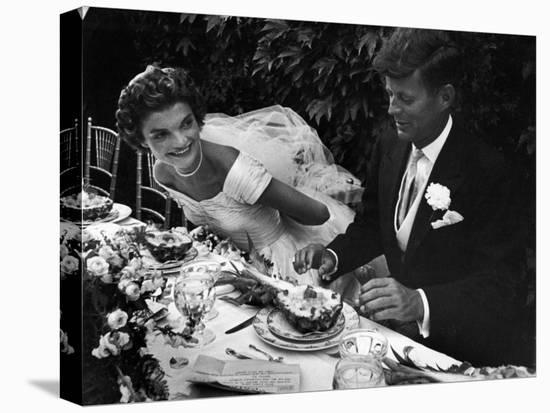 Senator John F. Kennedy and Bride Jacqueline Enjoying Dinner at Their Outdoor Wedding Celebration-Lisa Larsen-Stretched Canvas Print