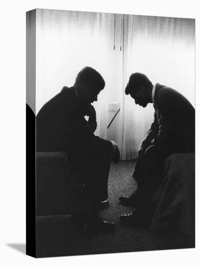 Senator John F Kennedy Conferring with His Brother and Campaign Organizer Bobby Kennedy--Stretched Canvas Print