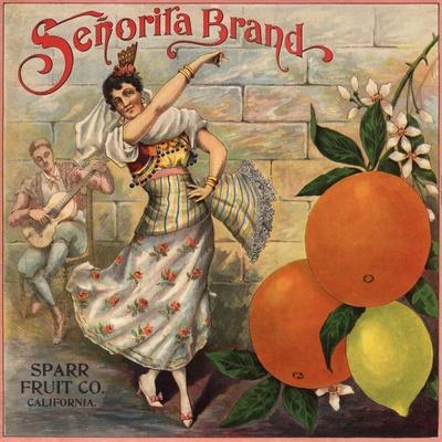 Senorita Brand - California - Citrus Crate Label-Lantern Press-Stretched Canvas Print