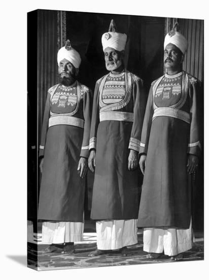 Servants of British Lord Archibald Wavell, Viceroy of India, in Scarlet and Gold Uniforms-Margaret Bourke-White-Stretched Canvas Print