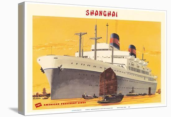 Shanghai Harbor - S.S. President Wilson - American President Lines-Fred Ludekens-Stretched Canvas Print