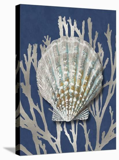 Shell Coral Silver on Blue IV-Caroline Kelly-Stretched Canvas Print