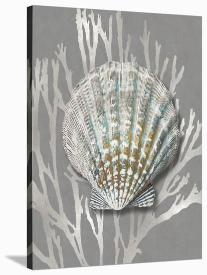 Shell Coral Silver on Gray IV-Caroline Kelly-Stretched Canvas Print