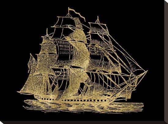 Ship 3 Golden Black-Amy Brinkman-Stretched Canvas Print
