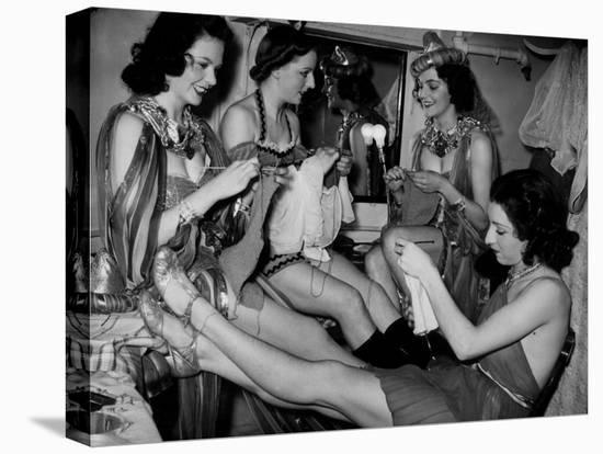 Showgirls Knitting Garments During Drive to Provide Goods to Servicemen During the War--Stretched Canvas Print