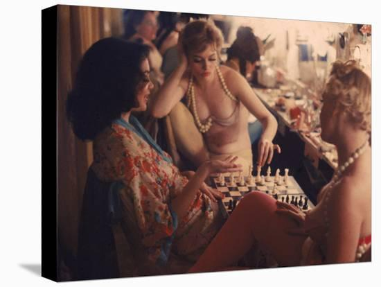 Showgirls Playing Chess Between Shows at Latin Quarter Nightclub-Gordon Parks-Stretched Canvas Print