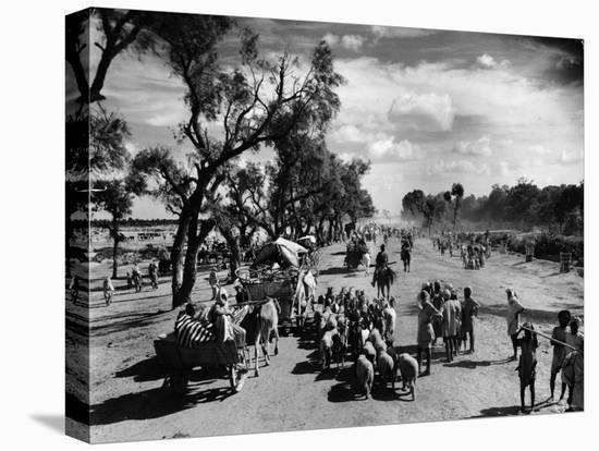 Sikhs Migrating to the Hindu Section of Punjab After the Division of India-Margaret Bourke-White-Stretched Canvas Print