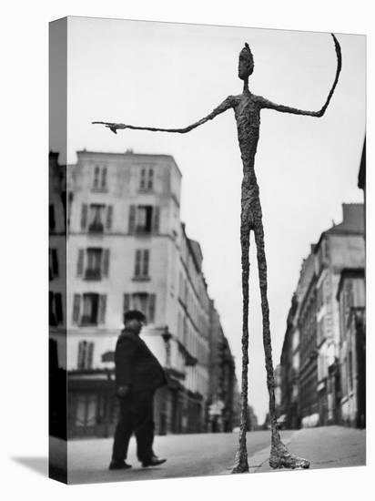 Skeletal Giacometti Sculpture on Parisian Street-Gordon Parks-Stretched Canvas Print