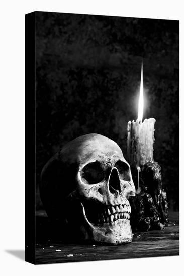 Skull Candle Black & White--Stretched Canvas Print