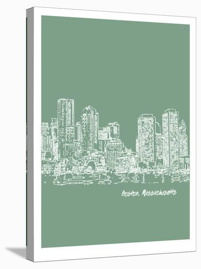 Skyline Boston 6-Brooke Witt-Stretched Canvas Print