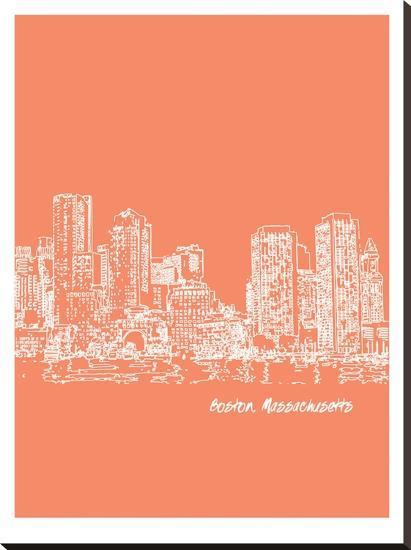 Skyline Boston 8-Brooke Witt-Stretched Canvas Print