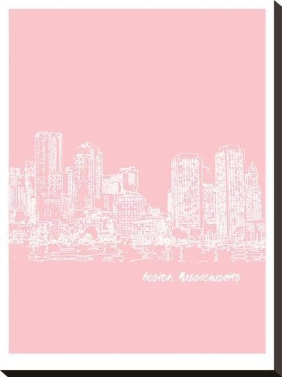 Skyline Boston 9-Brooke Witt-Stretched Canvas Print
