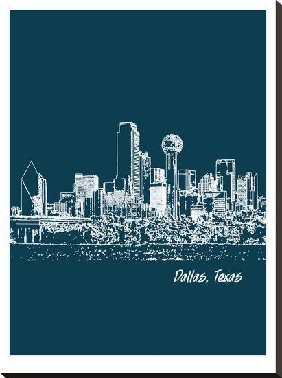 Skyline Dallas 3-Brooke Witt-Stretched Canvas Print