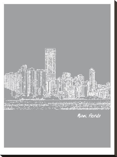 Skyline Miami 2-Brooke Witt-Stretched Canvas Print