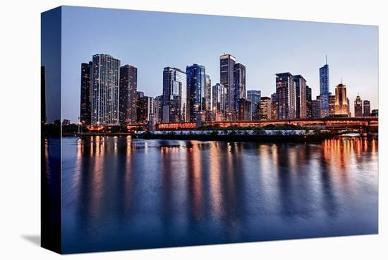 Skyline of Chicago & Navy Pier--Stretched Canvas Print