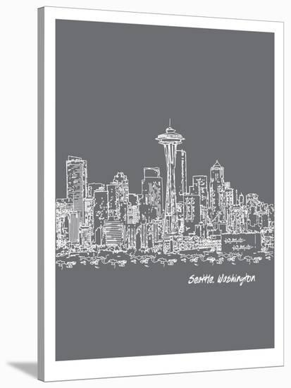 Skyline Seattle 1-Brooke Witt-Stretched Canvas Print