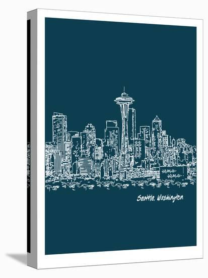 Skyline Seattle 3-Brooke Witt-Stretched Canvas Print