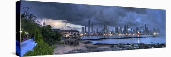 Skyscape City Panorama-Nish Nalbandian-Stretched Canvas Print