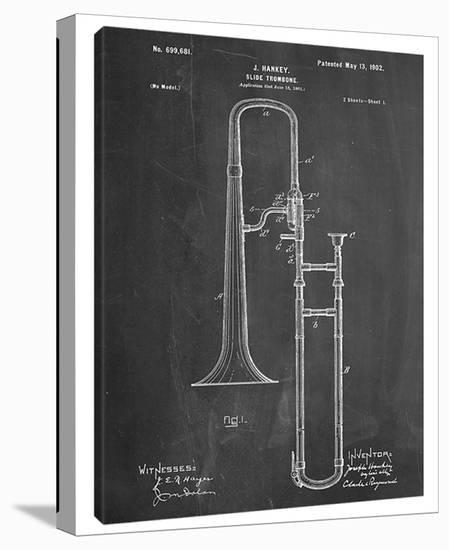 Slide Trombone-Cole Borders-Stretched Canvas Print